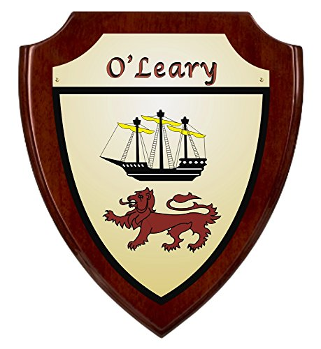 (O'Leary Irish Coat of Arms Shield Plaque - Rosewood Finish)