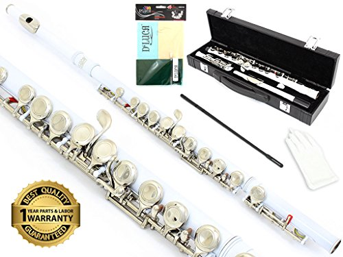 (D'Luca 400WH 400 Series 16 Closed Hole C Flute with Offset G and Split E Mechanism, Case, Cleaning Kit, White)