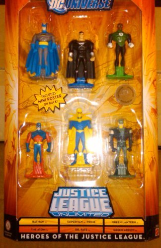 DC Universe Justice League Unlimited Heroes of the Justice League 6 pack with Batman, The Atom, Superman Prime, Dr. Fate, Green Lantern, and Green -
