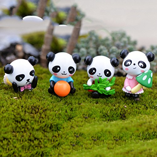 ZAMTAC 4 Pcs/lot Furnishing Articles Accessories Cartoon Panda Doll PVC Crafts Garden Ornament Micro Landscape Decoration Wholesale from ZAMTAC