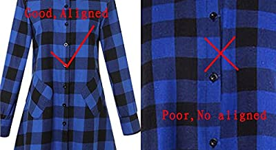 OLRAIN Womens New Plaids Irregular Hem Casual Shirt Dress