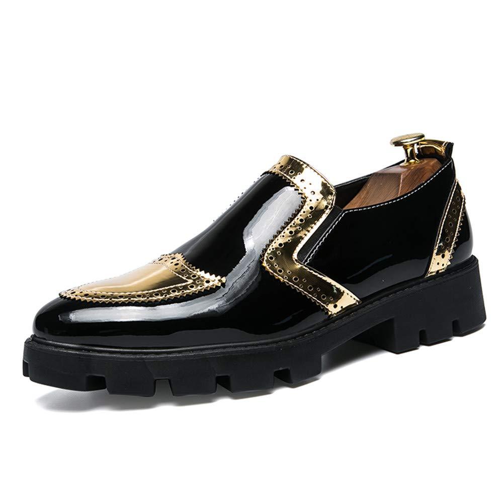 101906dbc6ba5 Bw8ItVmg Men s Business Oxford Casual Personality Stylish Stitching  Stitching Stitching Thick Patent Leather Brogue Shoes 8.5 D(M) US
