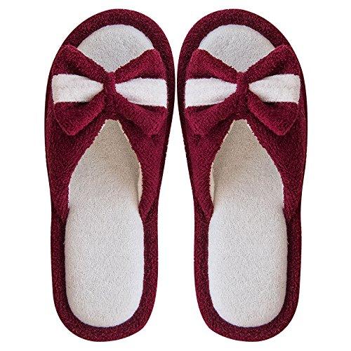 et accueil Printemps pantoufles Claret femmes et chaussons nus hommes Été intérieur amoureux pour noeud papillon YMFIE et automne pieds Iw84qqp