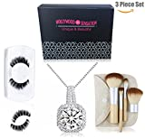 Hollywood Sensation Women Pendant Necklaces : Round Cut Cubic Zirconia18k White Gold Plated+Natural Mink Mega Volume Eyelashes+Travel Size 4 Pieces Makeup Brushes,Gift for Her