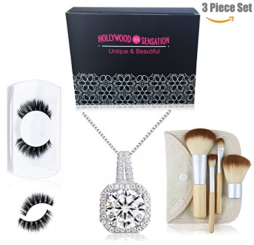 Hollywood Sensation Women Pendant Necklaces : Round Cut Cubic Zirconia18k White Gold Plated+Natural Mink Mega Volume Eyelashes+Travel Size 4 Pieces Makeup Brushes,Gift for Her by Hollywood Sensation (Image #9)