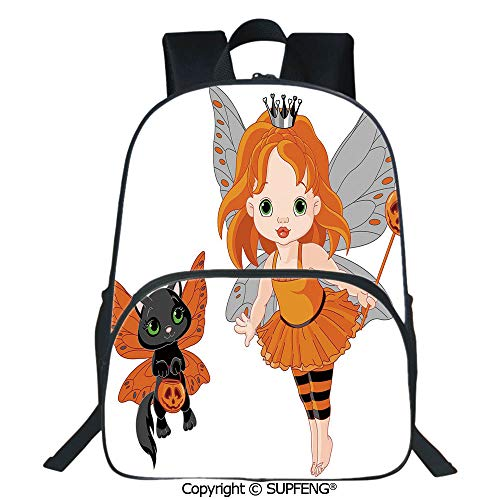 SCOXIXI School Back Halloween Baby Fairy and Her Cat in Costumes Butterflies Girls Kids Room Decor Decorative (15.75