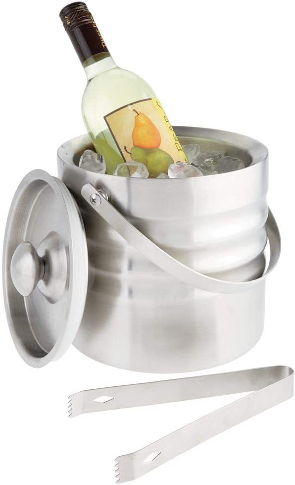 mDesign Modern Ice Bucket with Lid, Tongs and Handle - Double Wall Insulated Stainless Steel - for Entertaining, Parties, Barware - Holds Ice Cubes, Wine, Champagne - Brushed