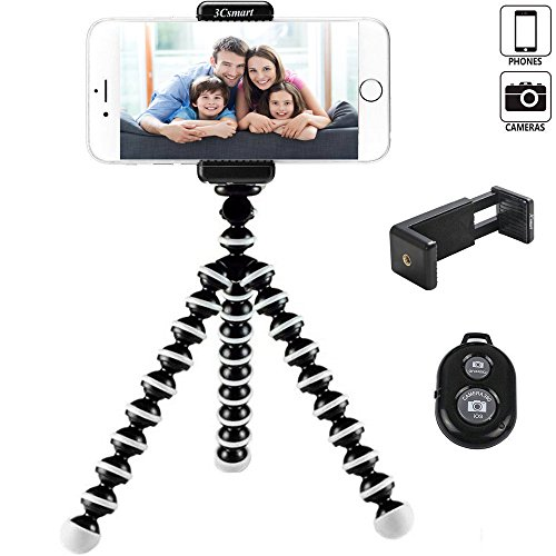 Phone tripod, 3Csmart Portable and Adjustable Octopus iPhone Tripod Stand Holder with Bluetooth Remote and Universal Clip for iPhone, Android Phone, Camera, Universal Smartphone and Camera