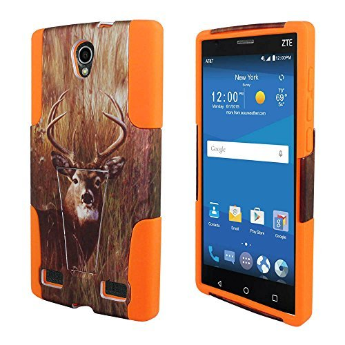 For ZTE ZMAX 2 Z995L Z958L ITUFFY 2 items: Stylus Pen + Dual Layer Impact Resistance Shock proof Plastic Cover Soft Rubber KickStand Hybrid Case (Deer Grass Camouflage – Orange)