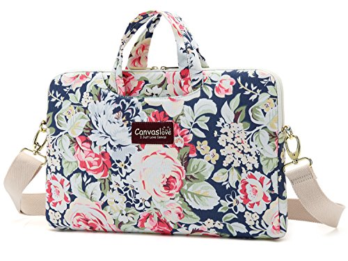 Canvaslove New Rose Pattern Waterproof Canvas laptop shoulde