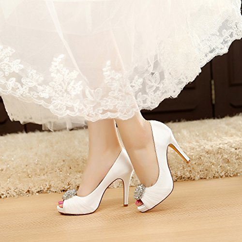 LUXVEER Wedding Shoes Combining Satin Lace and Rhinestone Brooch High Heel 4.5inch-Peep Toe-EUR35 Ivory sale view low price fee shipping for sale sale pictures 0tSgwU3c3l