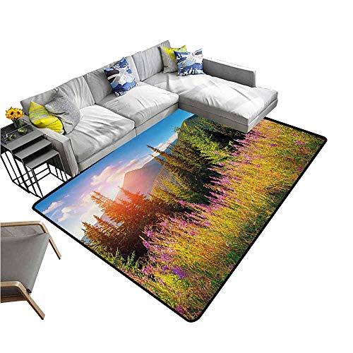 (Living Room Bedroom Carpets Landscape,Fall Landscape Picture in Mountains with Flowers Alpine Trees Forest at Sunrise,Green Pink 80