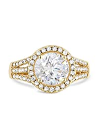 Samie Collection 2.43ctw CZ Halo Engagement Ring in Gold Plating