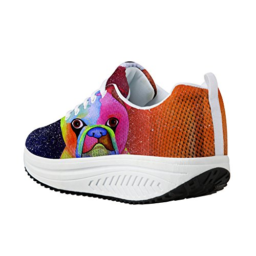Platform U Animal Increasing Height Swing Animal DESIGNS Toning Shoes Women 9 Mesh Painting Painting FOR Wedges Ad8Rxwq8