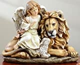 Holiday Figurines -Peace ON Earth Angel with Lion and Lamb - Christmas Decoration