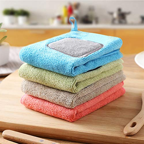 JS Dish Towels for Kitchen - 4 Pack Dish Cloths with Scouring Pad, Made of Cotton and Natural Fiber, Also Used as Sponges, Great for House Works - Mu Kitchen Cotton