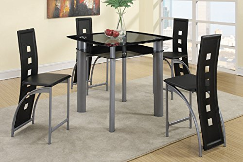 Poundex PDEX-F2224-F1222x2 F2224 & F1222 Black Painted Glass & Leatherette Chairs Counter Dining Set, Multi ()