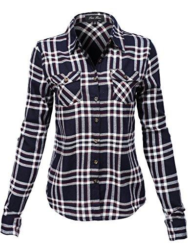 Simple Long Sleeve Front Pocket Cowboy Plaid Shirts