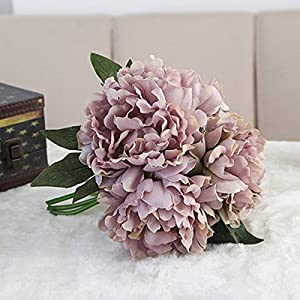 Takefuns Silk Peony Bouquet 5 Heads Light Pink Artificial Fake Flower Bunch Bouquet Bridal Bouquet Wedding Living Room Table Home Garden Decoration (Dark Purple) 108