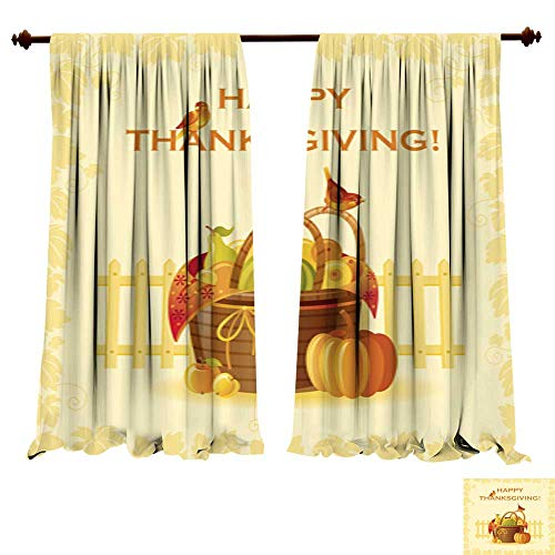 Curtains for Bedroom Happy Thanksgiving Fruit Basket Insulat
