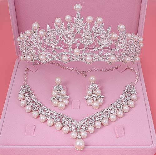 (Bride Crystal Pearl Costume jewelery sets New Design Rhinestone Choker Necklace Earrings Tiara Bridal Women Wedding Jewelry Set-)
