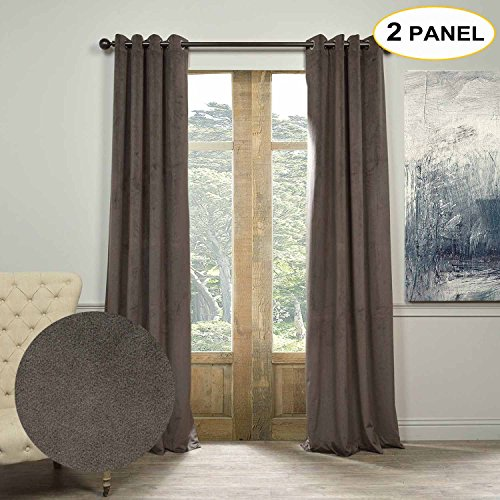 Artdix Velvet Lined 100% Blackout Solid Curtains Grommet Top Thermal Curtains Window Drapes For Bedroom Living Room,Custom Size (Please contact customer service to get price) Gunmetal - Gunmetal Price