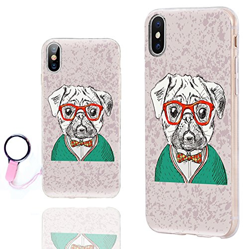 iPhone Xs Case Cute,iPhone X Case Cool,iPhone 10 Case,ChiChiC Ultra Thin Slim Flexible Soft TPU Clear Case Cover with Design for Apple iPhone Xs X 10,Cartoon Animal Fashion Cute Dog in Glasses pet ()