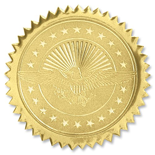 American Eagle Embossed Gold Foil Certificate Seals, 2 Inch, Self Adhesive, 102 ()