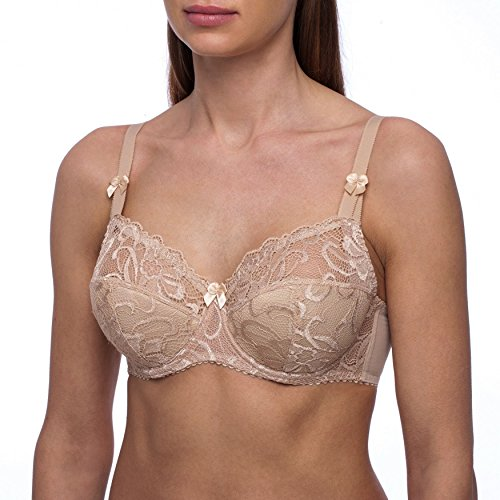 fruitVogue Women's Full Coverage Underwire Half Padded Lace Plus Size Bra 44 D Beige (SL_604_100D)