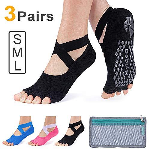 Hylaea Yoga Socks for Women with Grip & Non Slip Toeless Half Toe Socks for Ballet, Pilates, Barre, Dance (Medium (8.5-11), Black/Watermelon Red/Blue)