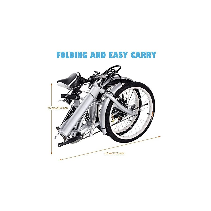 Kaluo 20'' Mountain Folding Storage Bike, 6 Speed Alloy Wheel Aluminum Frame Bicycle, Double Disk Brake, Rear Seat(Silver)[US Stock]