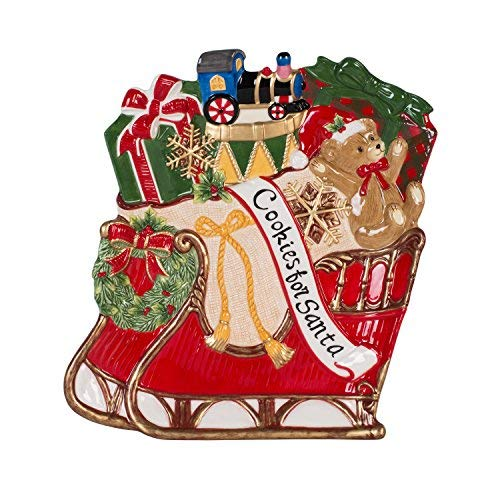 Fitz and Floyd 55-007 Christmas Sleigh Cookie Platter, Red