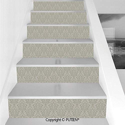 PUTIEN Cool Stair Stickers Wall Stickers,6 PCS Self-Adhesive [ Taupe,Italian Style Rich Flower Motifs Retro