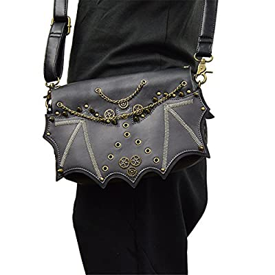 steel master Victorian Retro Shoulder Bags Motorcycle Rivet Cross Body Bags Goth Black PU Leather Handbags