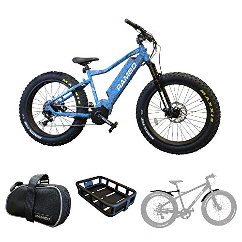 (Rambo R1000XPB Xtreme Performance Electric Bike (Blue Camo) Accessory Bundle w/Front Luggage Rack, Fender Kit and Portable Took kit)