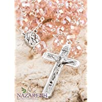 Catholic Light Pink 10mm Crystal Beads Rosary Holy Soil Medal & Silver Crucifix