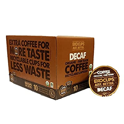 EKOCUPS Artisan Organic Decaf Coffee, medium roast, in Recyclable Single Serve Cups for Keurig K-cup Brewers, 10 count, 8 Pack