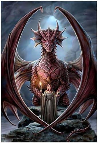 Round Drill 5D Diamond-Painting Art Craft Dragon Mother Cross Craft Souvenir