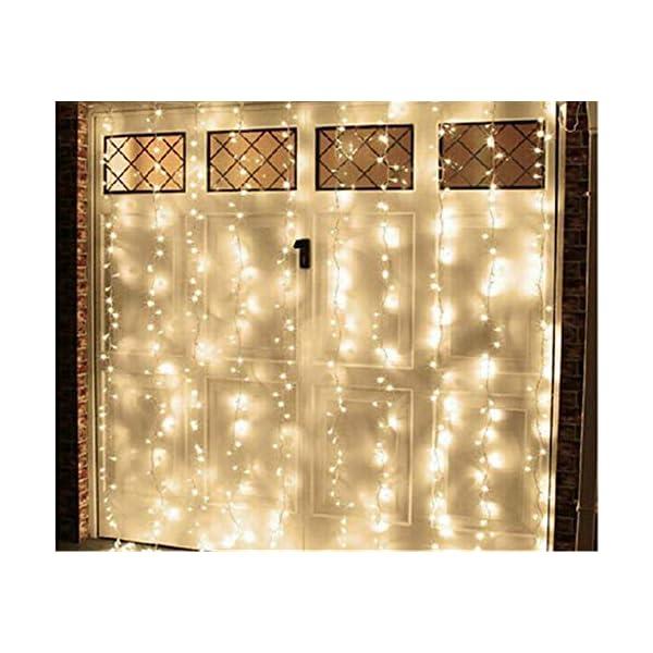 LED Tenda Luminosa, Catena Luminosa, Luci cascata, Luci per Tende, 216 LEDs 5M Natale Luci Stringa Bianco Caldo 8 Modalità Impermeabili IP44, per Natale finestra, porta, patio, giardino, feste 3 spesavip