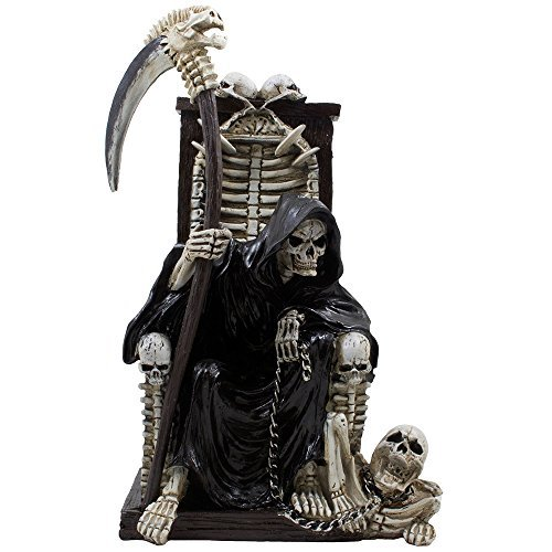 Decorative Spooky Grim Reaper Sitting on Bone Throne of Skeletons and Skulls Statue for Scary Halloween Decorations or Horror Movie Decor As Gothic Gifts