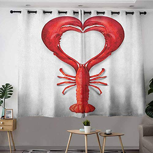 DGGO Curtains for Bedroom,Sea Animals A Boiled Lobster Shaped as A Heart Symbol Seafood Love Valentines Restaurant Menu Art,Space Decorations,W72x45L Red