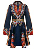 Women's Long Sleeve Round Neck Floral Traditional African Print Dashiki A-line Skater Dress Black, XX-Large