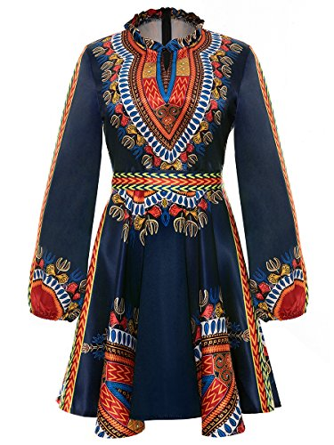 Women's Long Sleeve Round Neck Floral Traditional African Print Dashiki A-line Skater Dress Black, Large