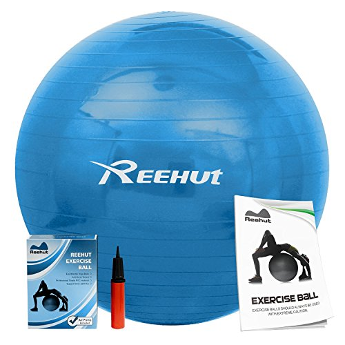 Reehut Anti-Burst Core Exercise Ball w/ Pump & Manual for Yoga, Workout, Fitness (Blue, 45cm)