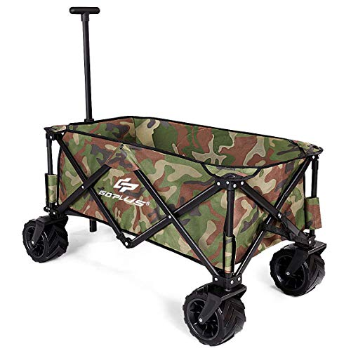 - Goplus Collapsible Folding Wagon Cart, Utility Garden Cart Collapsible Outdoor Trolley w/Push Bar for Shopping, Beach, Lawn, Sports