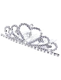 Baoblaze Crystal Teardrop Heart Crown Comb Veil Tiara Wedding Bridal Hair Accessories