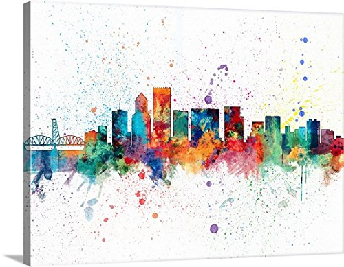 Michael Tompsett Premium Thick-Wrap Canvas Wall Art Print entitled Portland Oregon Skyline 40