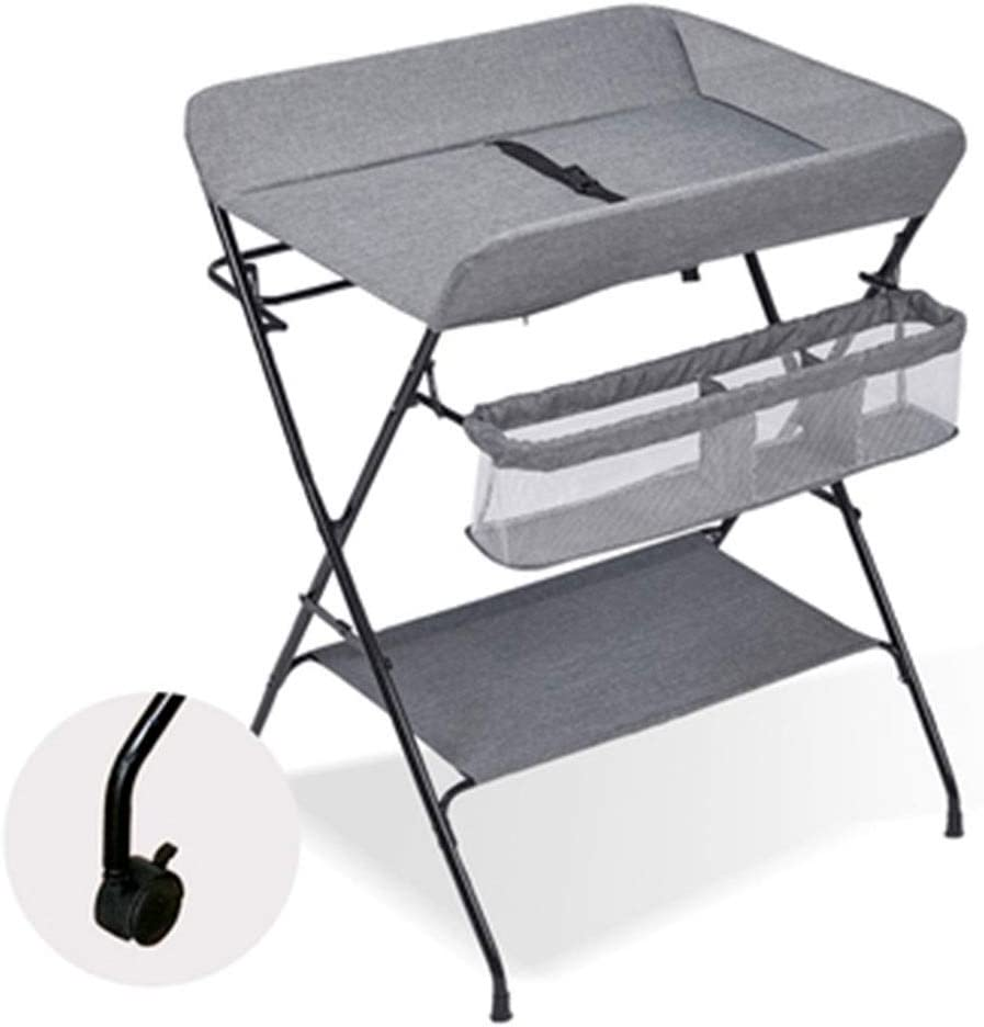 JIKLLSJID Bebé Cambiador Plegable con 3 Compartimentos de Almacenamiento 2 en 1 Plegable for Cambiar pañales Estación de bebé Plegable de la Tabla del baño y una cómoda Unidad con Ruedas, Gris