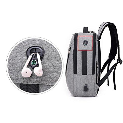 ZYXCC Männer Schultertasche Rucksack USB-Schnittstelle Lade-Rucksack große Kapazität Reise Reisen Multi-Funktions-Computer-Tasche (schwarz grau dunkelblau lila) Black OheKgA5rn