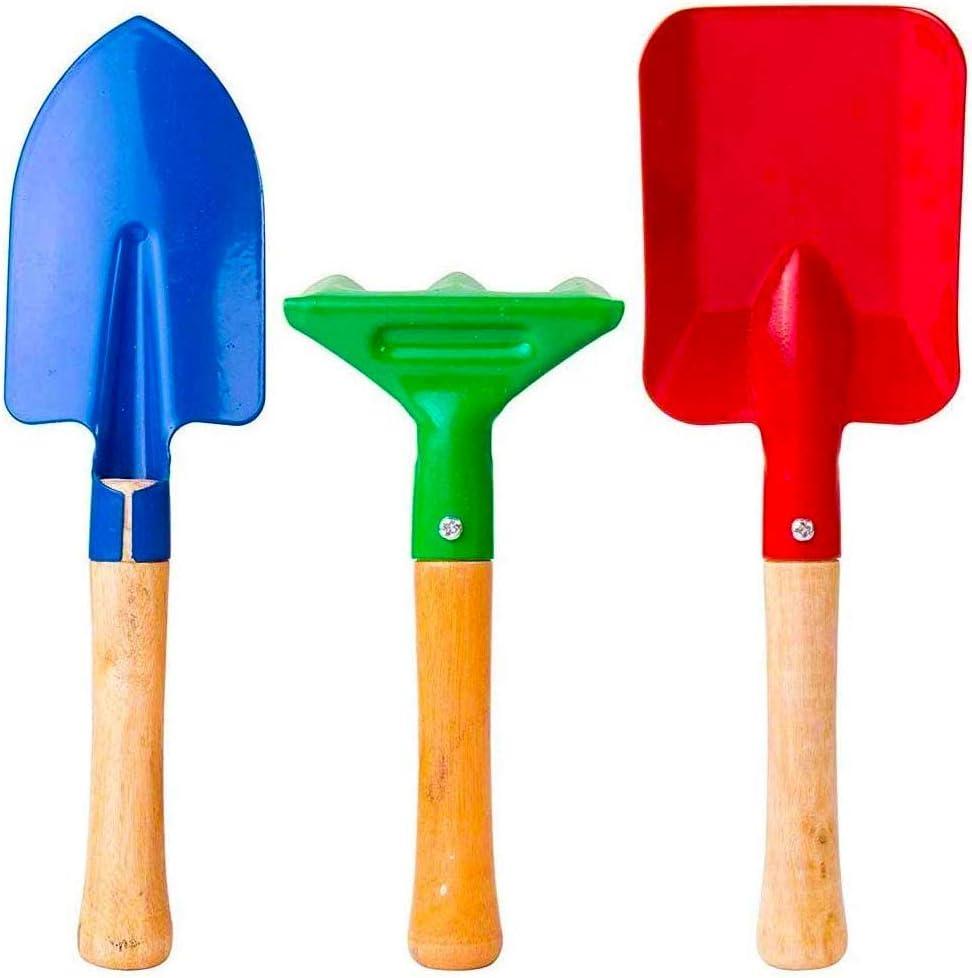 Trowel and Fork Kid/'s Home Garden Plants 3-Piece Gardening Tool Set Rake NEW